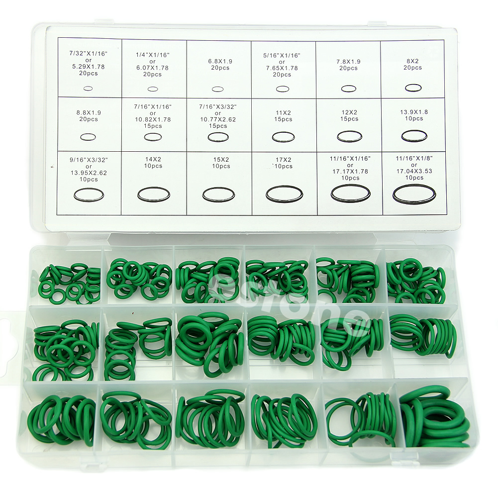 High Quality Rubber 270Pcs 18 Sizes O-ring Kit Green Metric O ring Seals Nitrile 530pcs high quality 18 sizes o ring kit green r134a rubber o ring o ring washer seals assortment for car