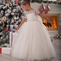 Vintage Lace Flower Girls Dresses 2016 Cheap Price Sashes Belt Ball Gown Charming First Communion Dress For Girls Custom Made