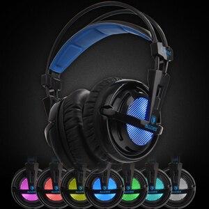 Image 2 - SADES Locust Plus หูฟัง 7.1 ชุดหูฟังเสียงรอบทิศทาง Elastic Suspension แถบคาดศีรษะหูฟัง RGB LED Light สำหรับ PC/LAPTOP