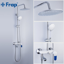 FRAP Shower faucets bathroom shower mixer bath shower faucet taps bath shower head set bathtub faucet frap bathroom shower faucet round square abs shower head bath shower mixers set with handshower wall mount shower arm y24010