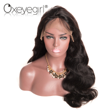 Oxeye girl 360 Lace Frontal Wigs Pre Plucked Front Human Hair Wigs For Women Natural Black  Brazilian Body Wave Non-Remy Hair