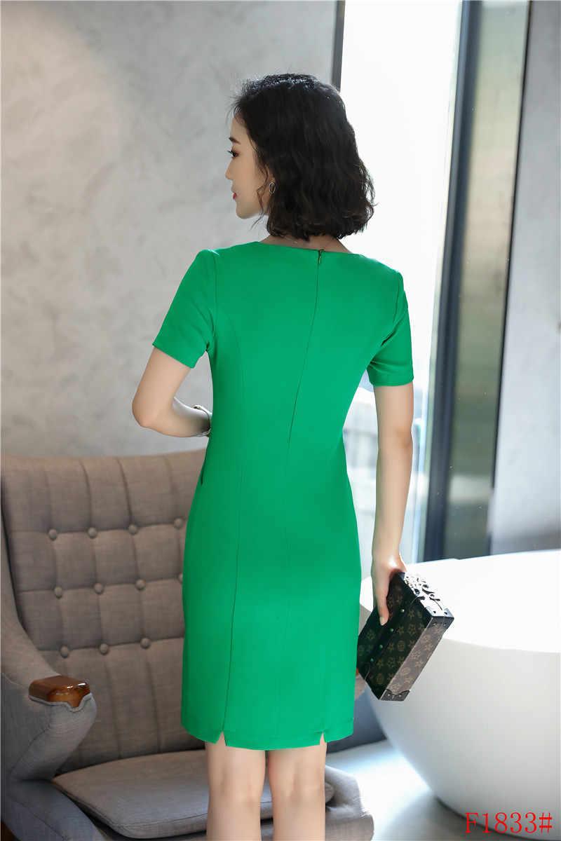 7a6bff5af807 ... Fashion Women Party Dresses Orange red Ladies Summer Work Dress Short  Sleeve Mini Slim Office Uniform ...