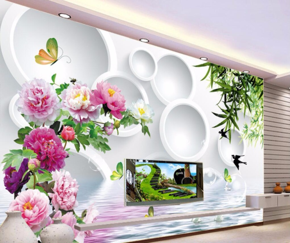 beibehang Custom Wallpaper Home Decorative Mural Peony Weeping Willow Water Reflection 3D Ring TV Background Wall 3d wallpaper