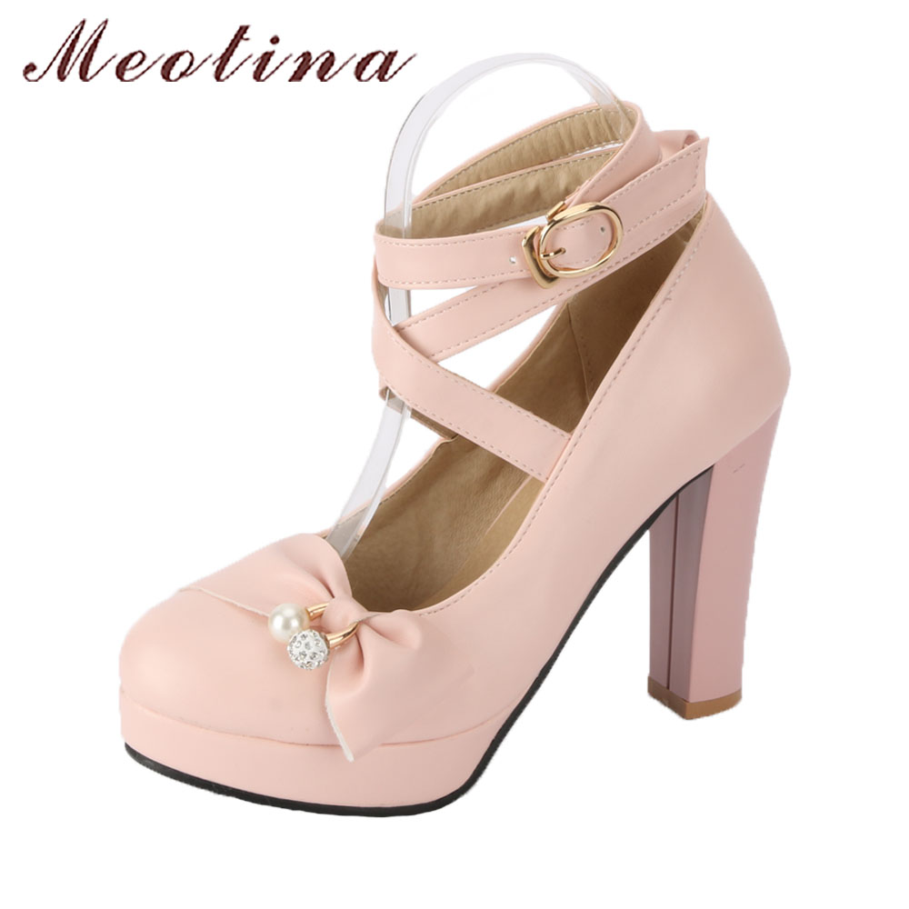 Meotina Women High Heels Shoes Ankle Strap Pumps Platform High Heels Pearls Bow Party Shoes Spring Buckle Shoes Pink Big Size 43 sexy fashion womens platform pumps strappy buckle high heels shoes big size shoes black beige yellow pink white