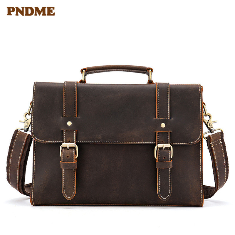 PNDME Simple Retro Genuine Leather Business Men's Briefcase Casual Crazy Horse Cowhide Messenger Bags High Quality Laptop Bag