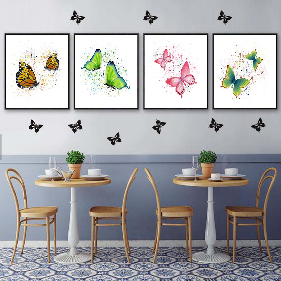 Watercolour Two Flying Butterflies Canvas Painting Wall Art Decor Posters And Print Picture For Living Room Home Decoration