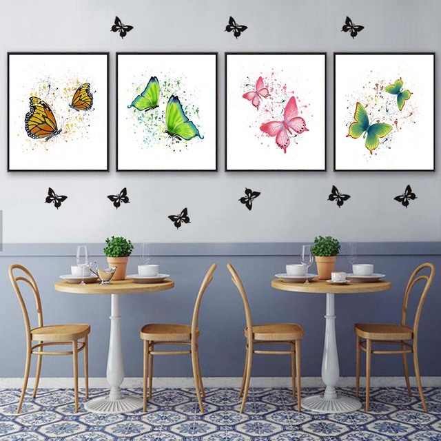 Watercolour Two Flying Butterflies Canvas Painting Wall Art Decor Posters  And Print Wall Picture For Living