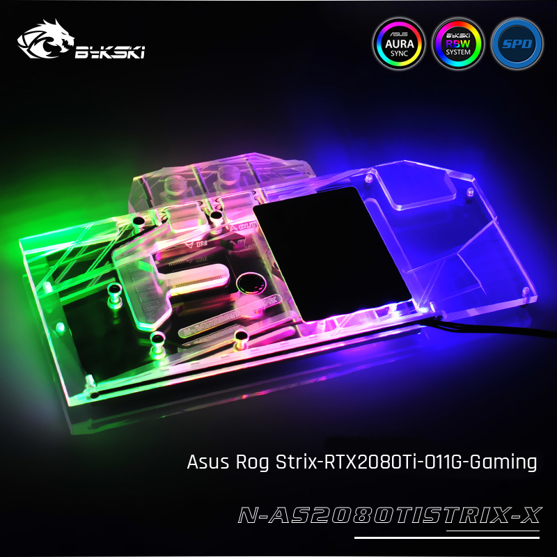 Bykski N AS2080TISTRIX X Full Cover Graphics Card Water Cooling Block For Asus Rog Strix RTX2080Ti