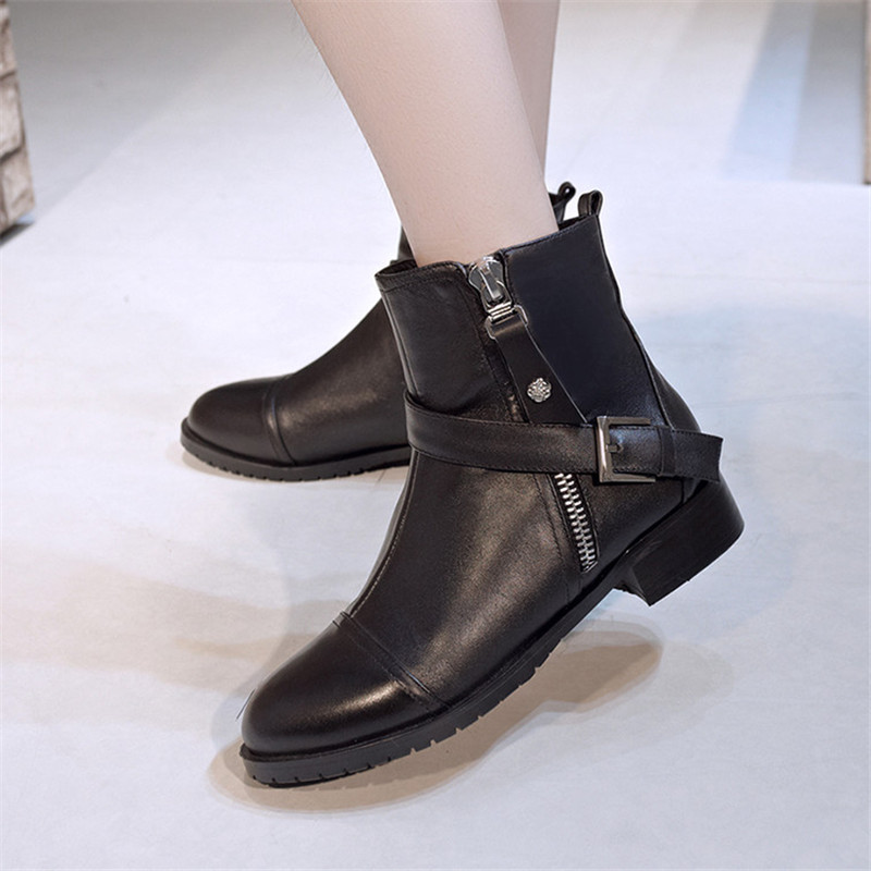 купить 2017 Women Boots Genuine Leather Flat Martin Ankle Boots Womens Zipper Motorcycle Boots Autumn Winter Shoes Woman comfortable недорого