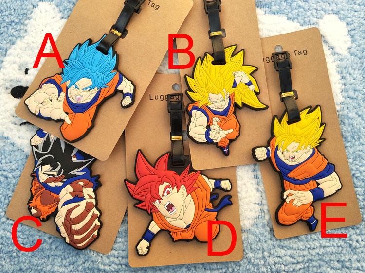 Dragon Ball Z figure luggage tag anime Son Goku Kakarotto PVC pendants 5 styles fashion suitcase decoration free shipping