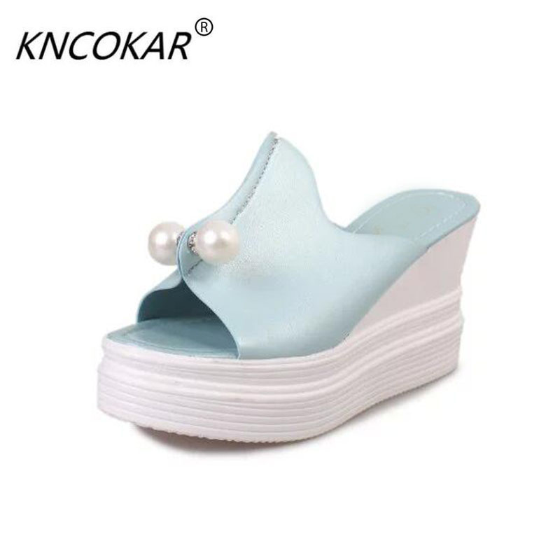 KNCOKAR 2017 women new fashion spring Summer Korean version high-heeled sandals slippers non-slip muffin pearl rhinestone shoes