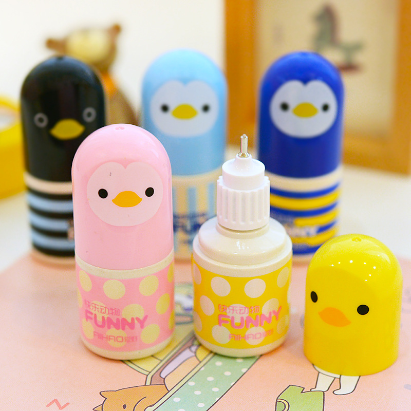 Kawaii Plastic Correction Fluid Corrector Tape Creative Correction Tape Office School Supplies Cute Stationery Novelty Chick