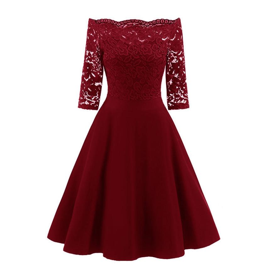 snowshine YLW Women New Vintage Lace Patchwork Off Shoulder Cocktail Party Retro Swing Dress