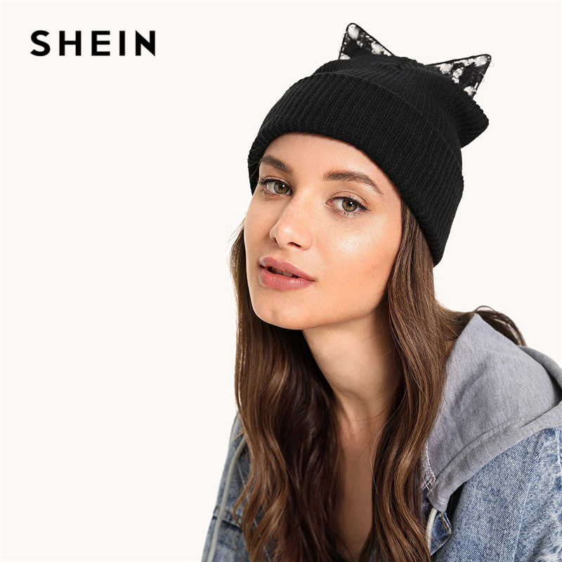 67c5872c6f Detail Feedback Questions about SHEIN Black Cat Ear Knit Beanie Hat Women  Winter Autumn Female Cute Cap Ladies All Matched Warm Hats on  Aliexpress.com ...