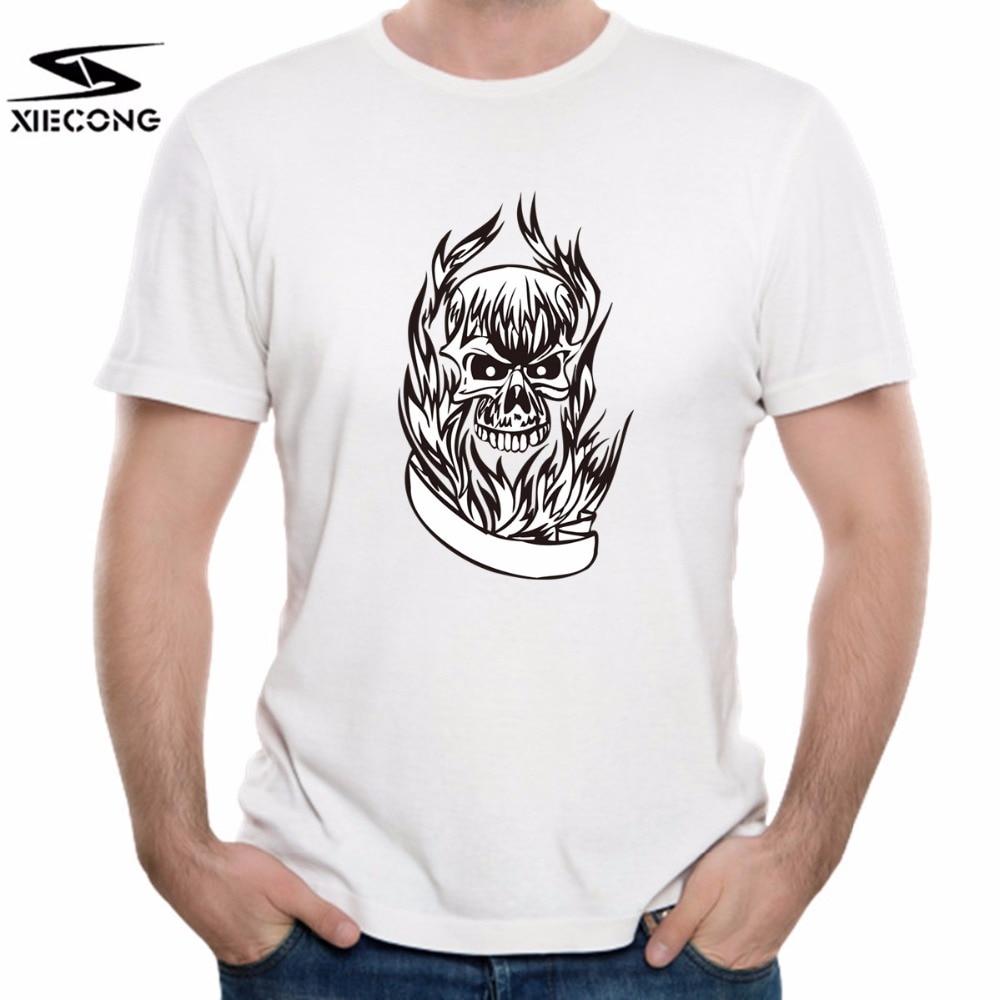 Burning Skull 3D T-shirt Print 100% Pure Cotton Men Unisex Printing Short Sleeved Summer T Shirts XIECONG