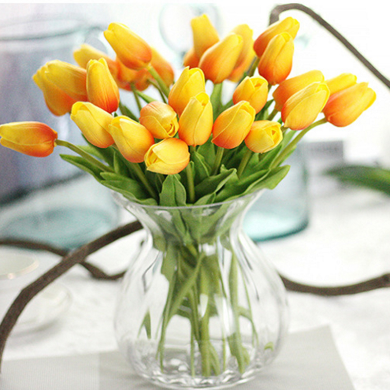 10pcs/lot Tulip Artificial Flower cheap PU plastic bouquet Real touch flowers For Home Wedding decorative fake flowers & wreaths