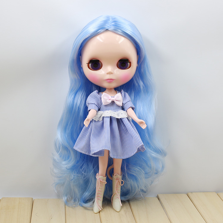 Blyth Nude Doll 280BL6005 normal body no bangs central cut blue Hair Suitable For DIY Change BJD Toy For Girls purple curly long hair with bangs normal body nude doll suitable for change diy 280bl732 117