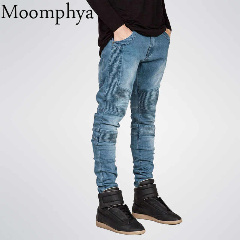 Moomphya Mens Skinny jeans men Runway Distressed slim elastic jeans denim Biker jeans hip hop pants Washed Pleated jeans blue