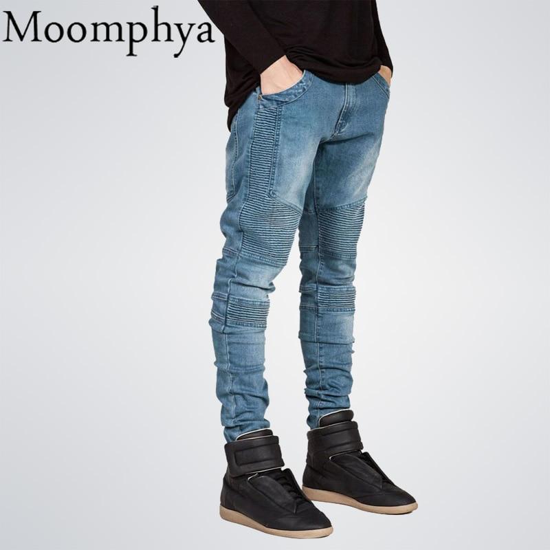 Moomphya Mens Skinny jeans men Runway Distressed slim elastic jeans denim Biker jeans hip hop pants Washed Pleated jeans blue gmancl hole men jeans scratched biker jeans ripped denim straight slim fit hip hop classic rap distressed blue cotton pants