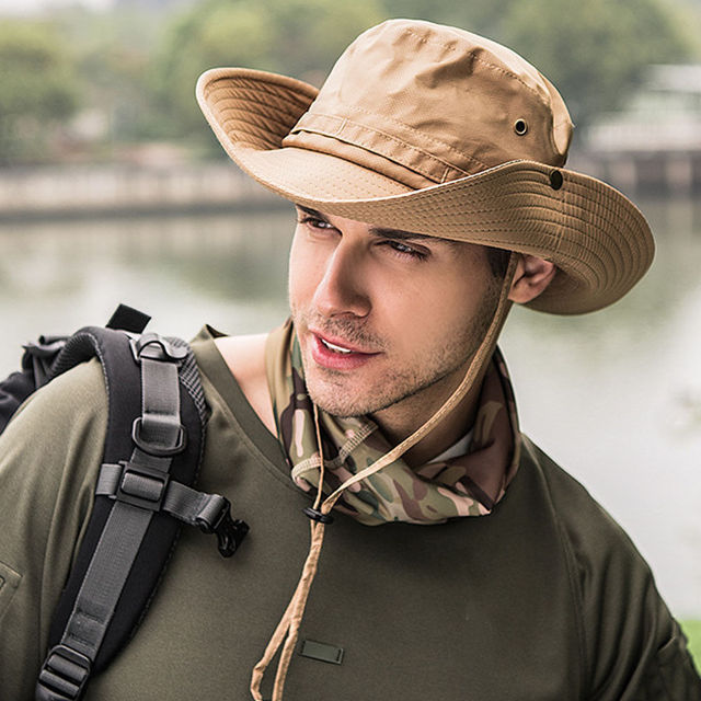Fashion Mens Womens Bucket Sun Hat Sailing Fishing Brim Cap Protection  Safari Fisherman Solid Hat e1a158203e3