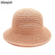 XdanqinX Summer Womens Breathable Caps Foldable Dome Sun Hats Elegant Fashion Beach Hat For Women Outdoor Protection Cap