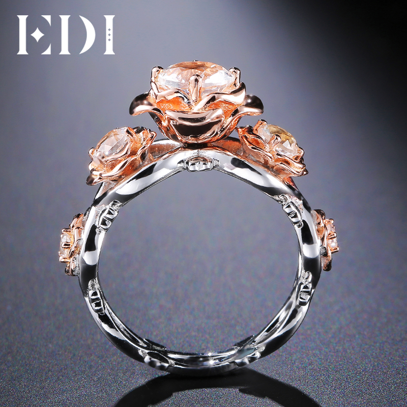 EDI Rose Flower 1CT Moissanite Diamond Wedding Ring Brilliant 14K 585 Multi-tone Gold Floral Rings Beauty and the beast Jewelry la roche posay очищающий гель effaclar очищающий гель effaclar 400 мл