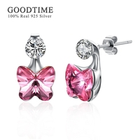 GOODTIME Fashion Austrian Crystal Real 925 Silver Butterfly Ear Nail Earrings for Woman Lady Flash Rhinestones Jewelry Accessory