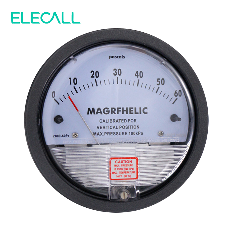 ФОТО ELECALL TE2000 0-60PA Micro Differential Pressure Gauge High Neutral Panel Round Type Pointer Instrument Micromanometer