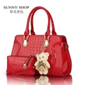 SUNNY SHOP  2 Bags/set W/ Bear Toy Fashion Alligator Pattern Handbag and Purse PU Patent Leather Casual Shoulder Bags Women Bag