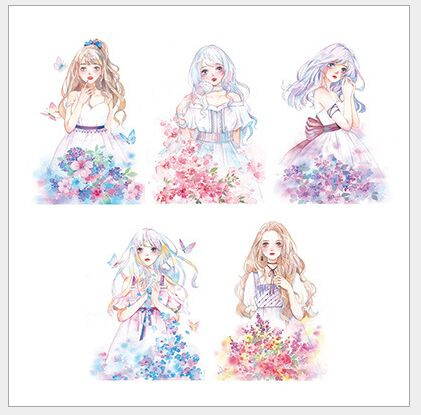 50mm Blossoming Moon flower girl Fairy Girl special ink decoration washi tape DIY planner scrapbooking diary masking tape escola