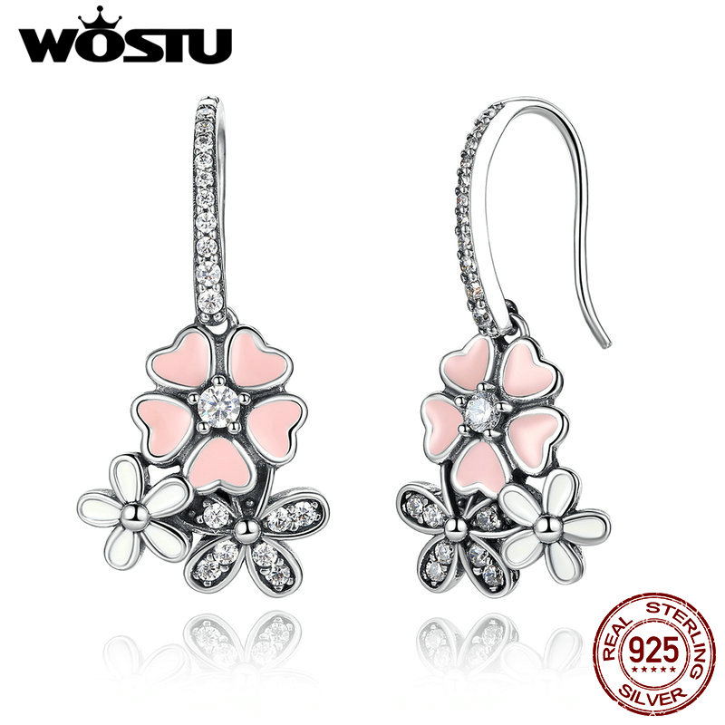 High Quality 925 Sterling Silver Poetic Daisy Cherry Blossom Drop Earrings For Women Luxury Original Fine Jewelry Gift CQE016