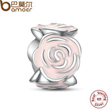 Luxury 925 Sterling Silver Rose Garden Charm Fit Bracelet Necklace Pink Enamel Flower Beads Jewelry Making PAS009