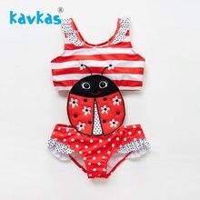 Kavkas/купальный костюм для новорожденных девочек с вышивкой в виде божьей коровки; цельнокроеный летний купальный костюм в стиле пэчворк для девочек; Banadore