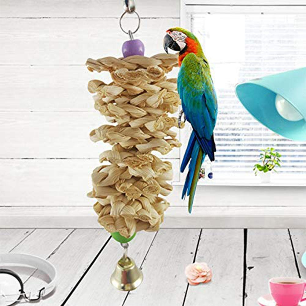 Adeeing Bird Parrot Toy With Bell Natural Wooden Grass Chewing Bite Hanging Cage Swing Climb Chew Toys-25