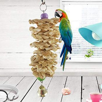 Adeeing loro de juguete de madera Natural hierba de morder jaula colgante Swing subir juguetes-25