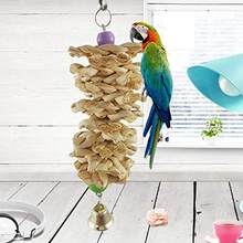 SaiDeng Bird Parrot Toy with Bell Natural Wooden Grass Chewing Bite Hanging Cage Swing Climb Chew Toys-25(China)