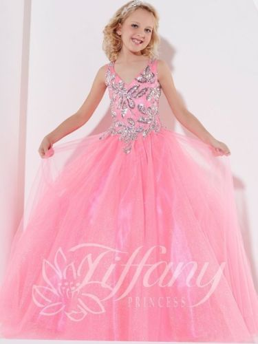 Gorgeous Cute  Girl Flower Dresses Light Pink Satin Voile Sequined V-neck Pageant Communion Party V-neck  2-14 Year Old Dress