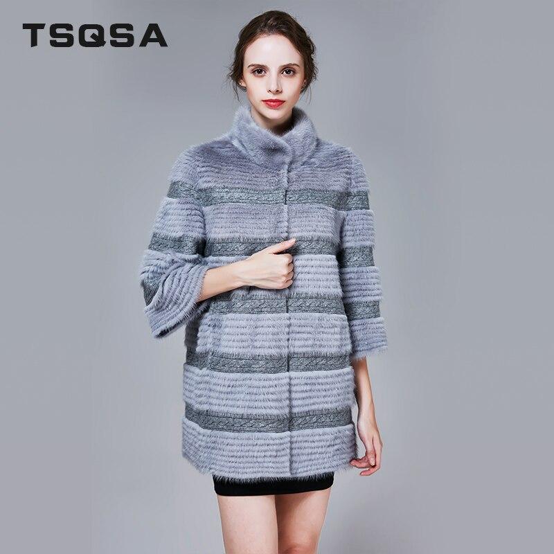 TSQSA 2018 Winter Fur Coat Real Mink Fur Coats Fashion Slim Female Genuine Fur Clothes Women Quality Overcoat Clothing TAC1729