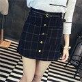 2017 mulheres de outono saia feminino cinto célula Escocês da manta quadriculada com bolsos botões cinza azul casual verão cintura alta