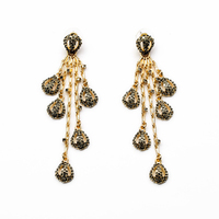 Pave Mask Drops Gold Long Chain Chandelier Earrings SD 037