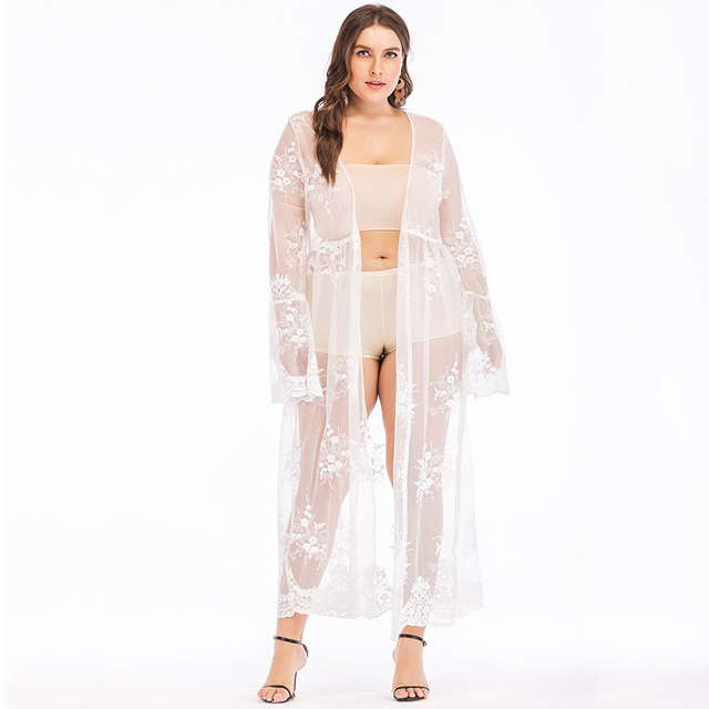 cd9eeef60d Sexy Women Plus Size Summer Cover Up Sheer Lace Mesh Floral Embroidery Long  Sleeve Kimono Cardigan Beach Coverups White Blusas