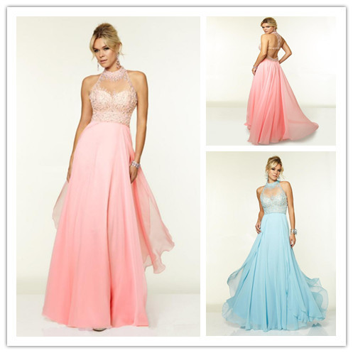 Red Pink Prom Dresses Long Light Blue Prom Gowns Chiffon A Line