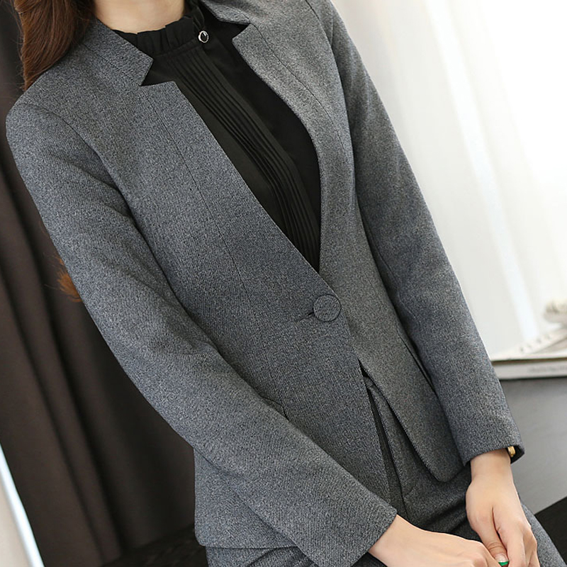 High grade Two Piece Formal Pant Suit Ladies for Wedding Office Plus Size Uniform Designs Gray Women Business Suits for Work-in Pant Suits from Women's Clothing    3
