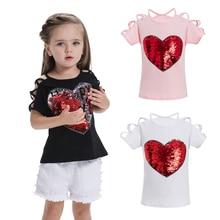 Сердце-цвет Изменение реверсивных блесток Сердца Девушки Футболки с блестками Обесцвечивание Футболка с тиснением Детская одежда Sequin
