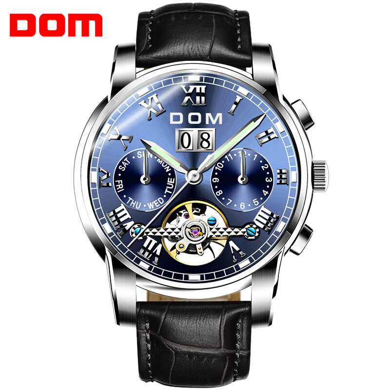 Men Automatic Watch DOM Brand Mechanical Sport Watch Waterproof Clock Luxury Fashion Wristwatch Relogio Masculino M-75L-2M mechanical watches sport dom watch men waterproof clock mens brand luxury fashion wristwatch relogio masculino m 75l 2m