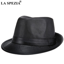 LA SPEZIA Black Felt Trilby Hat Men Casual Faux Leather Jazz Hats Gentleman Vintage Fedora Cap Traveling Spring Panama Caps Male
