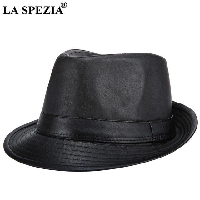 LA SPEZIA Black Felt Trilby Hat Men Casual Faux Leather Jazz Hats Gentleman  Vintage Fedora Cap 52e00f1dcaa