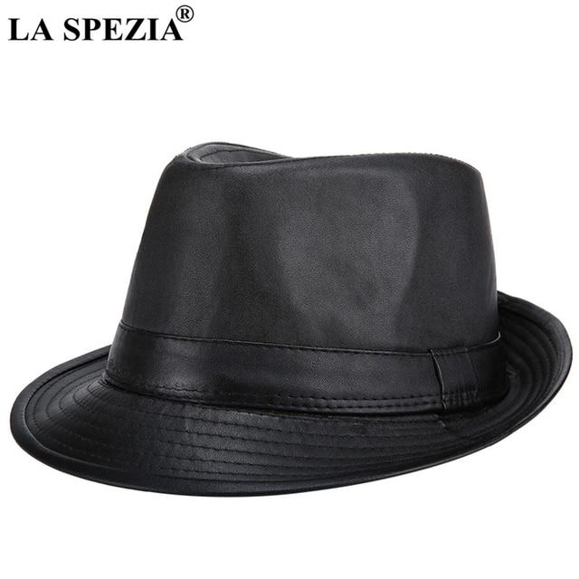 409ac5fe LA SPEZIA Black Felt Trilby Hat Men Casual Faux Leather Jazz Hats Gentleman  Vintage Fedora Cap