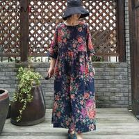 USWMIE 2018 Autumn Dress Women New Literary Flower Pockets Half Sleeves O neck Vintage Dress Long Section Plus Size Vestidos