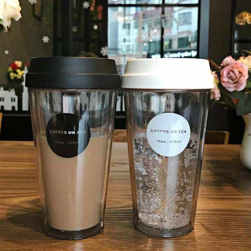 Travel Slip Mug 320420520ml Outdoor Office Water Coffee Transparent Double Cup Non Cover Round Car Gift lTKF1cJ
